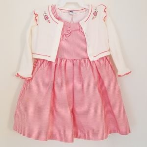 Janie and Jack red striped bow dress with sweater